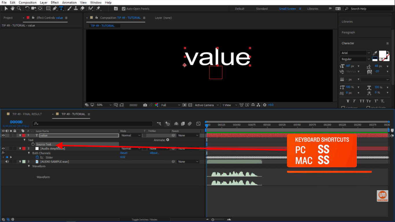 Solo text source in After Effects