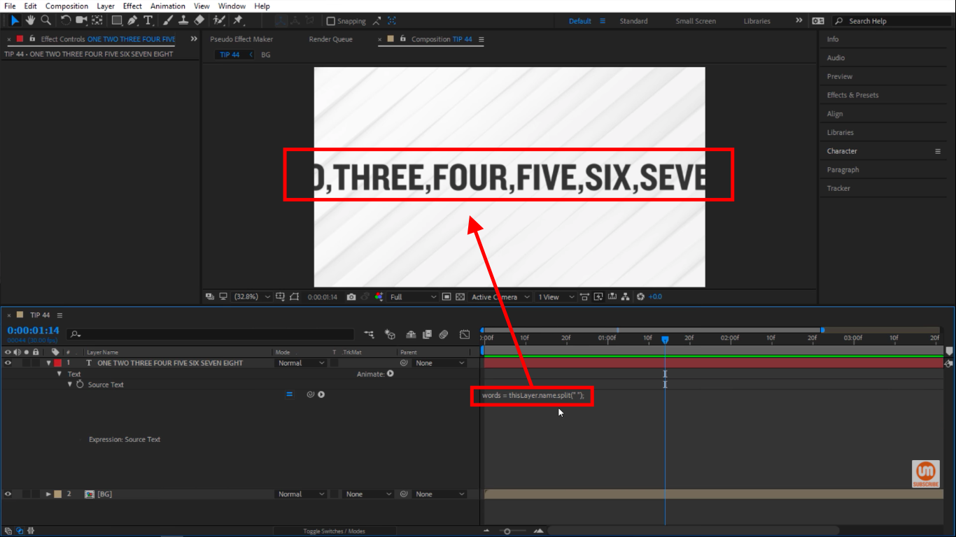 Split Method in After Effects Expressions