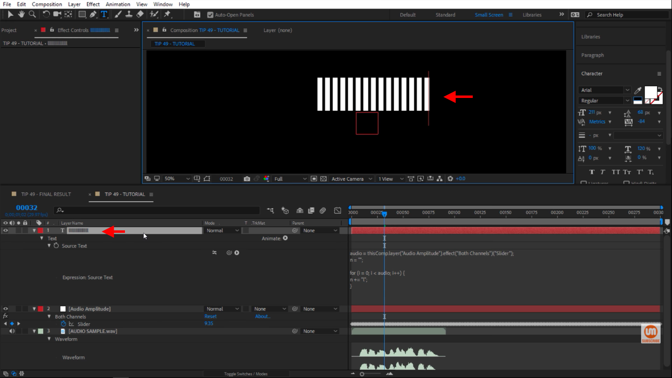 Type lowercase L 15 times in After Effects