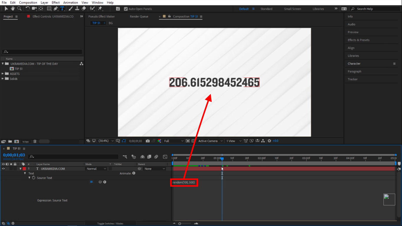 Value between 100 and 500 in random numbers in After Effects