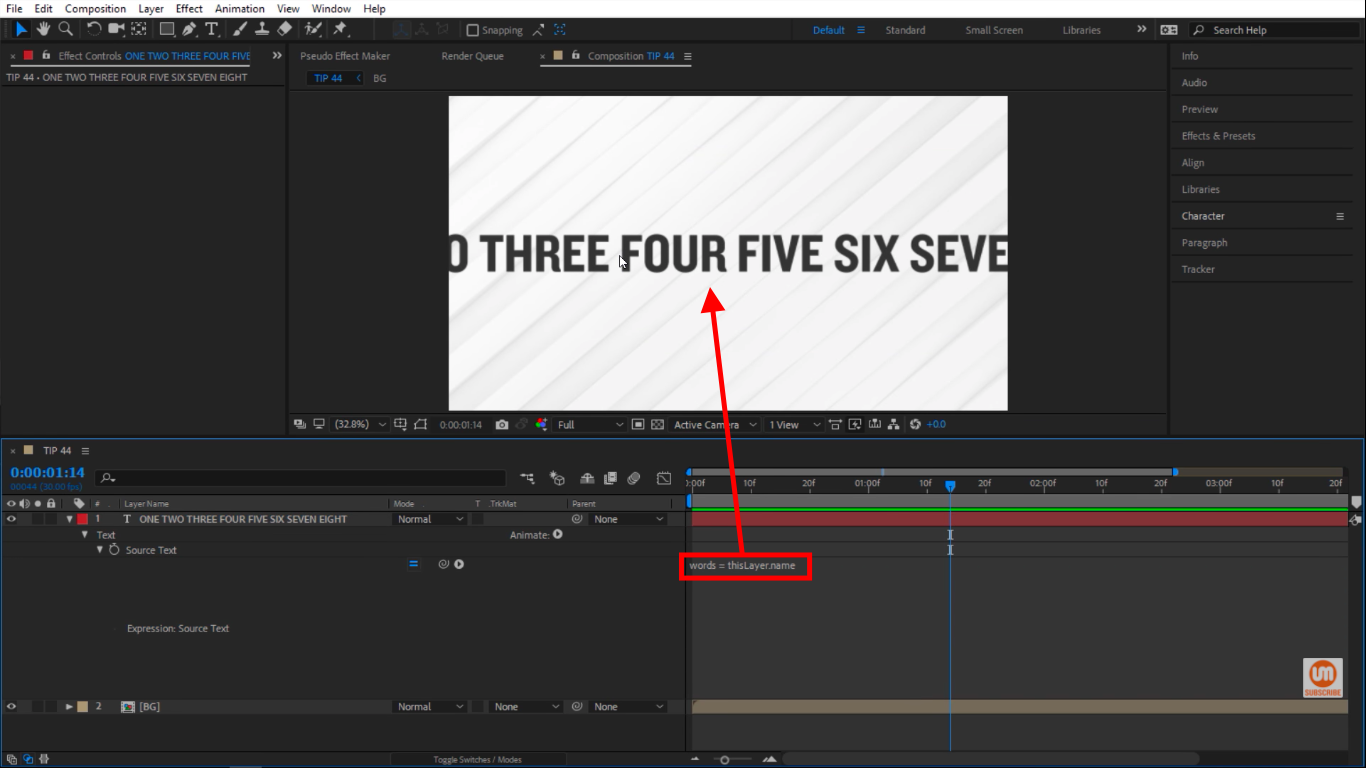 Words text layer in After Effects