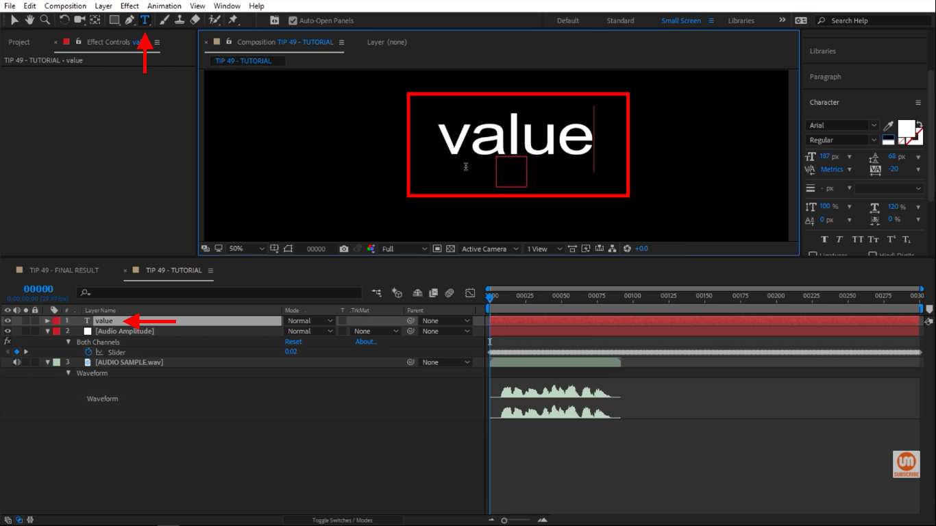 Write value inside of my composition in After Effects