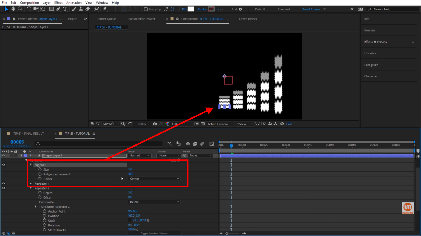 Zig zag options in After Effects