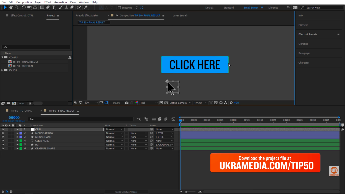 back to blue in After Effects button
