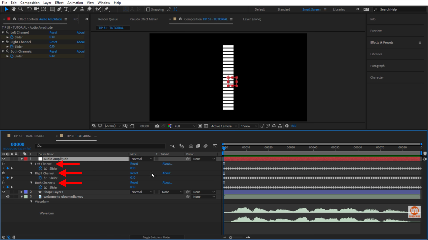 left, right and both channels in After Effects audio