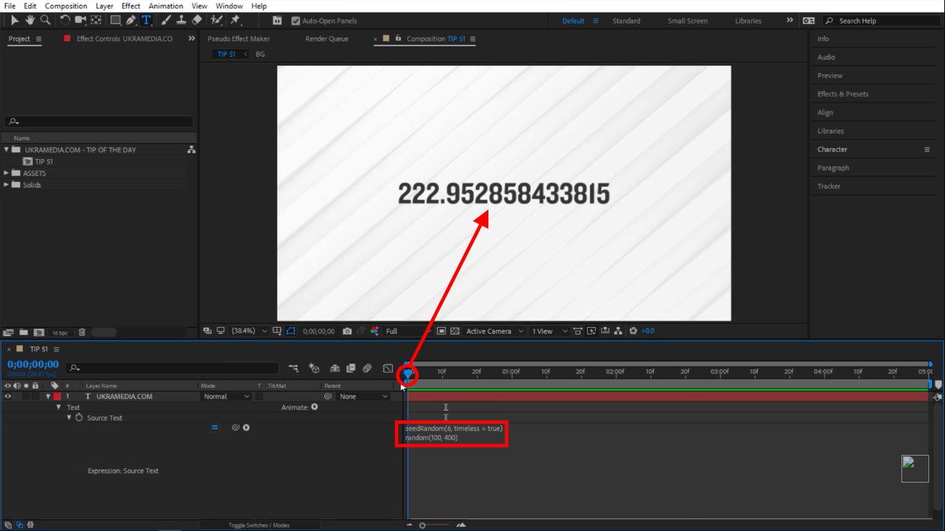 seedRandom timeless set to true in After Effects