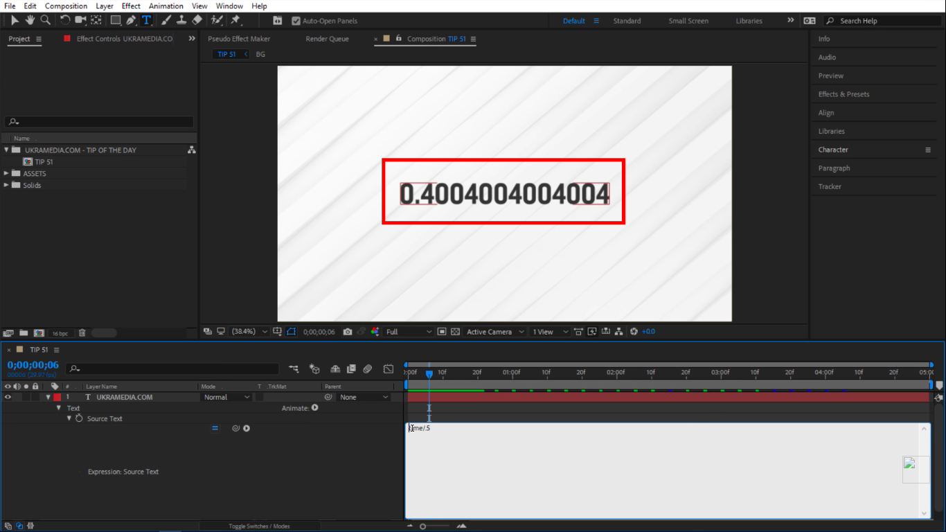 time divided by in After Effects