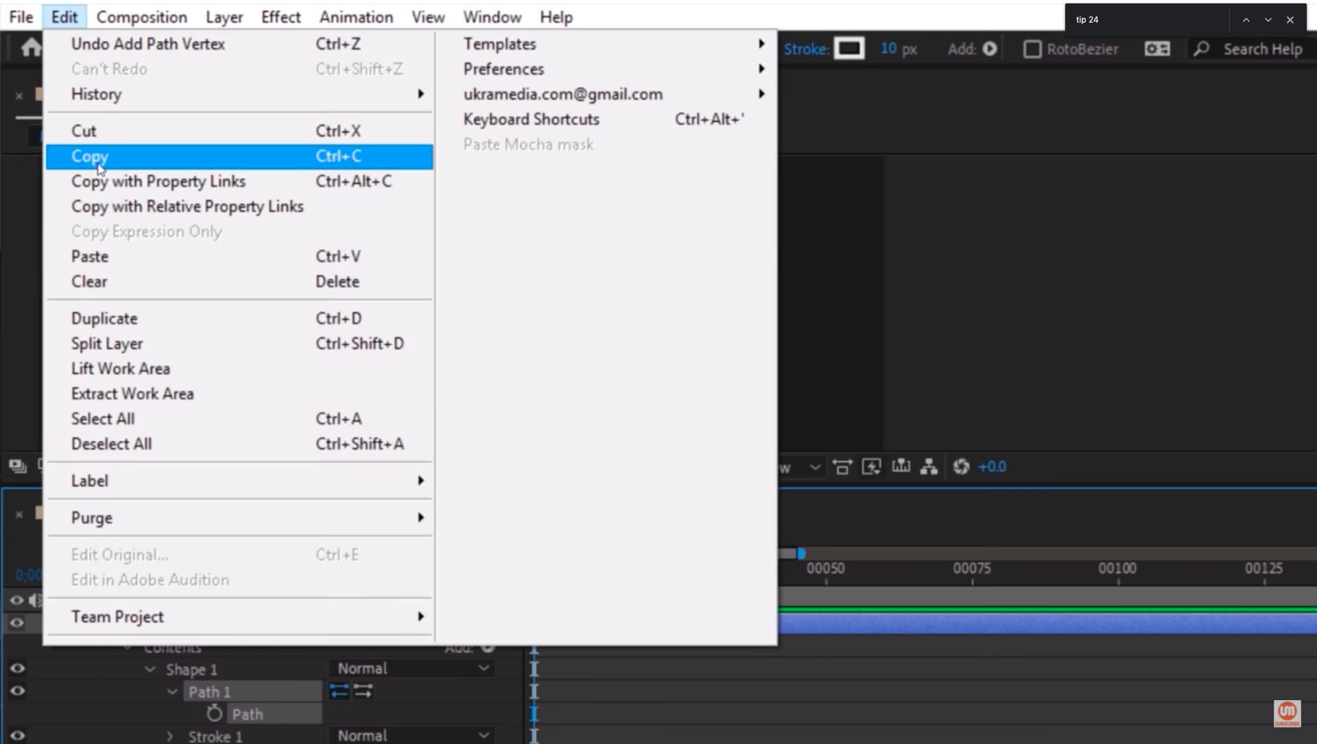 Copy Path Property After Effects