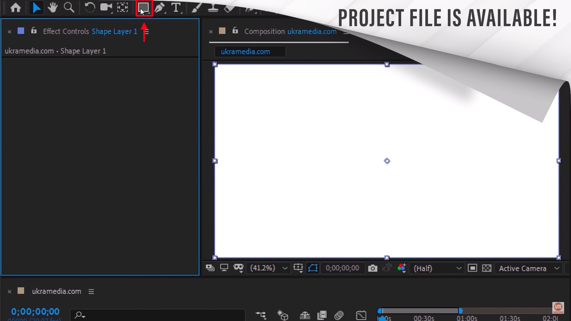 Double Click on the rectangle tool to create a shape layer in After Effects