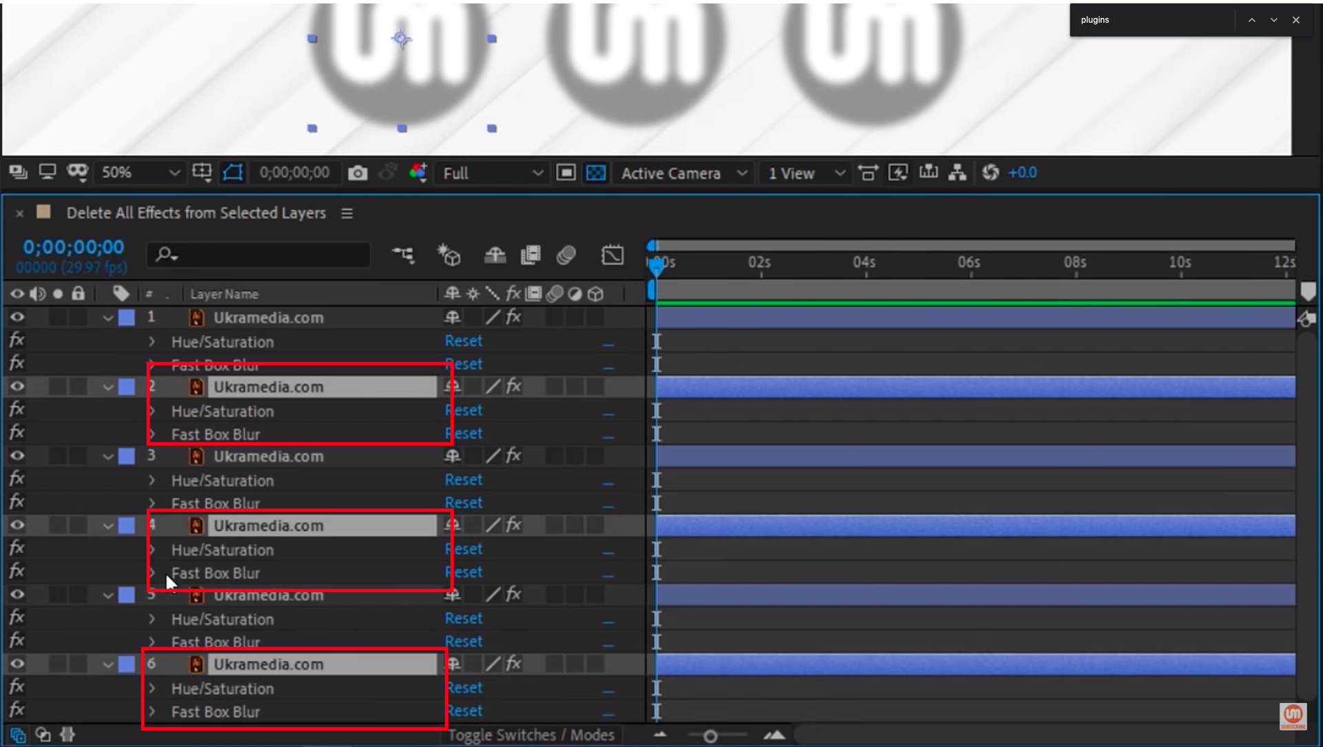 Hue and Saturday and Fast Blur Effect After Effects