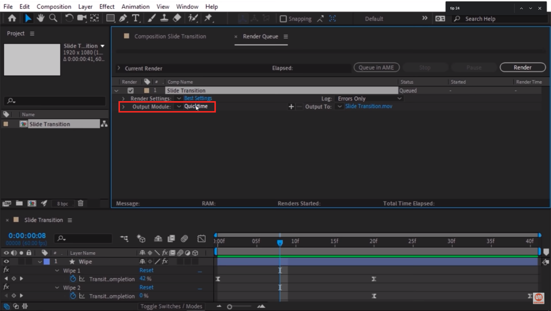 Output Module Settings in After Effects