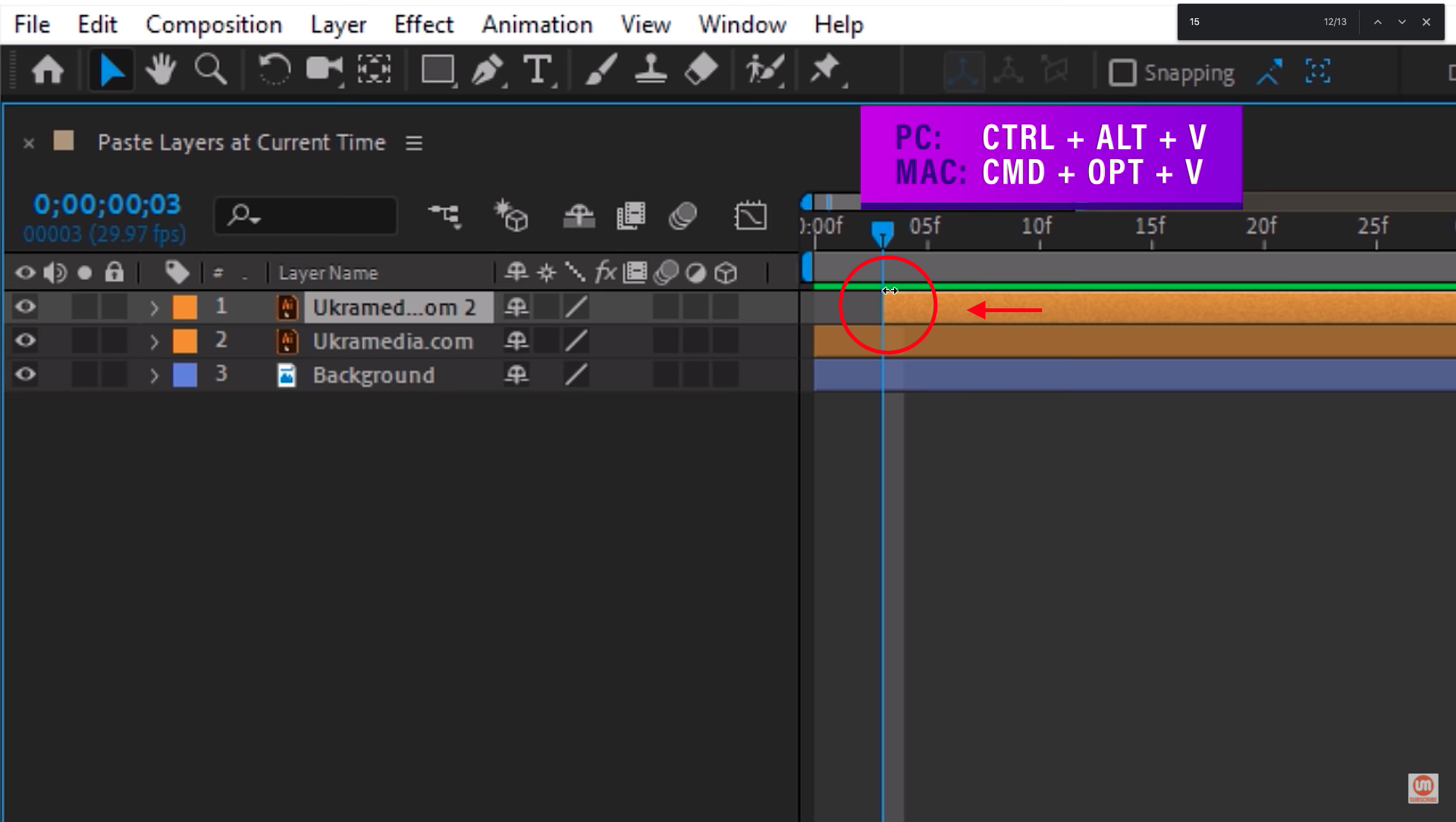Paste at current time After Effects