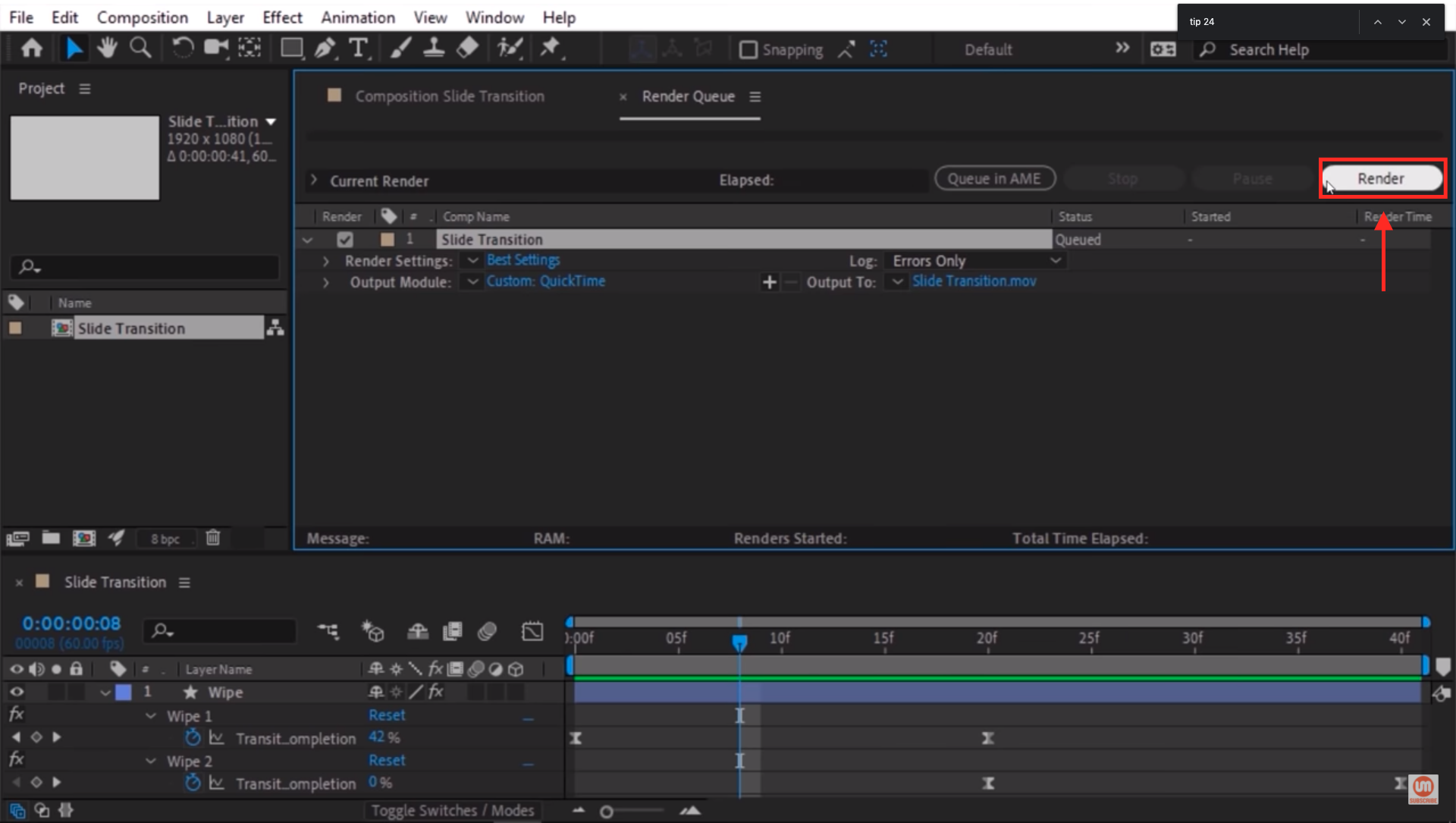 Render file in After Effects