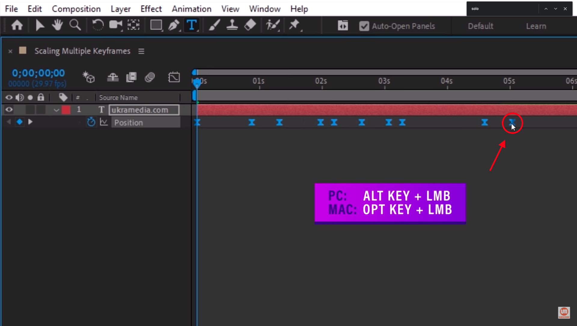 Scaling multiple keyframes in After Effects