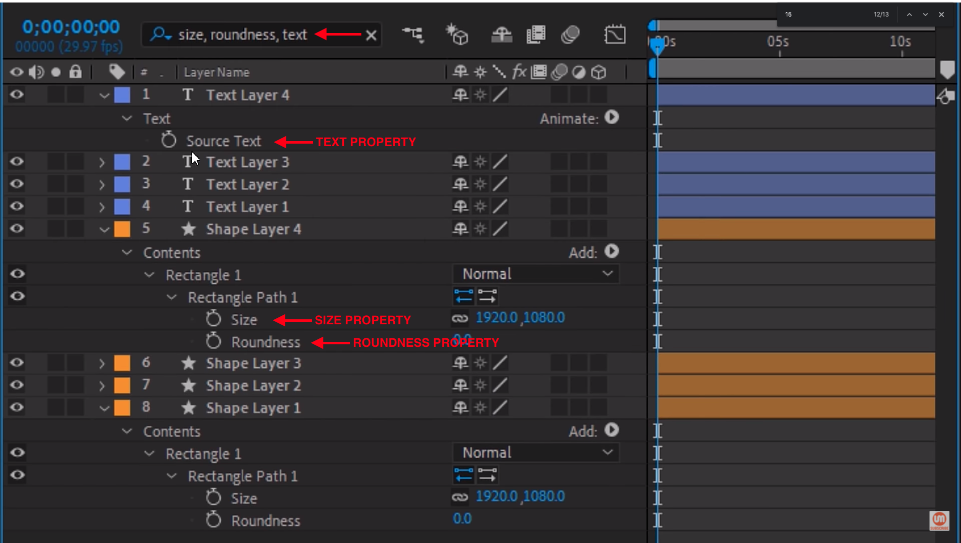 Searching for multiple properties in adobe after effects