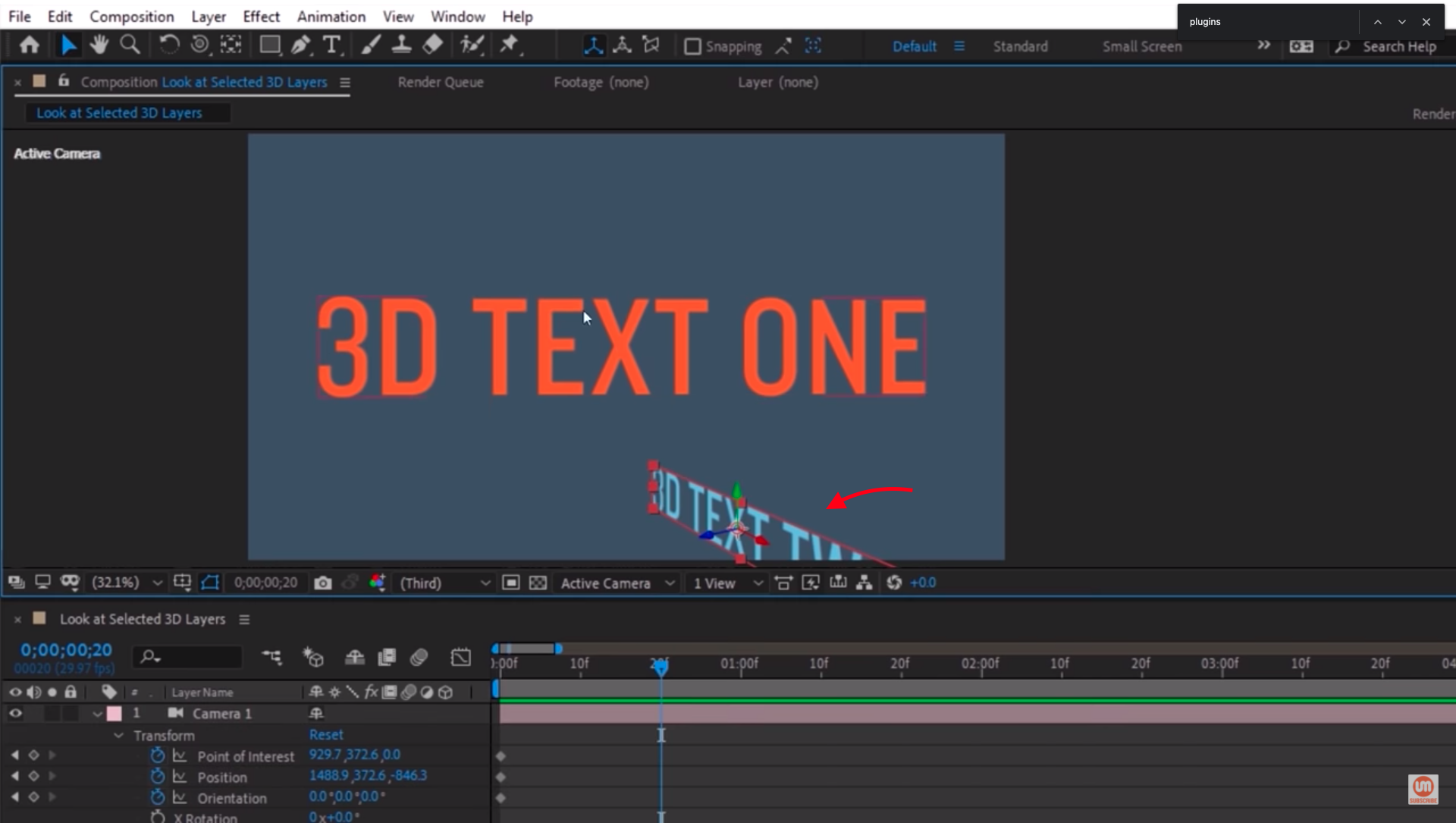Select 3D Text After Effects