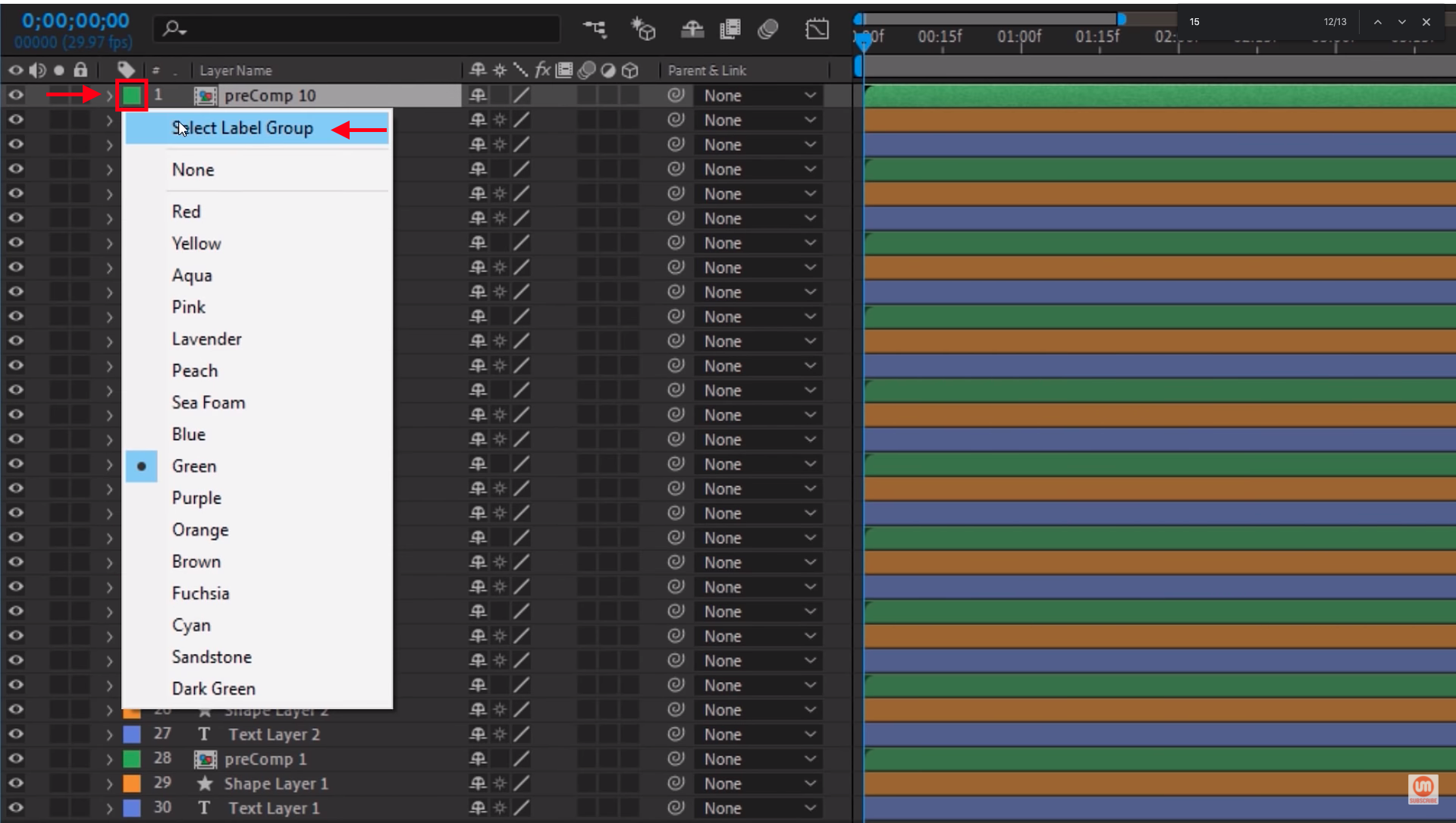Select Label Group in After Effects