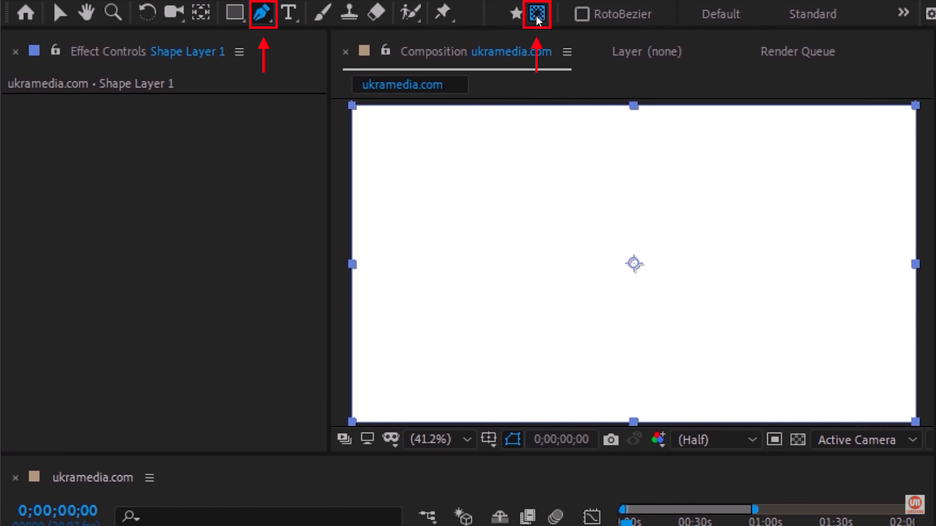 Select Pen tool and Mask in After Effects