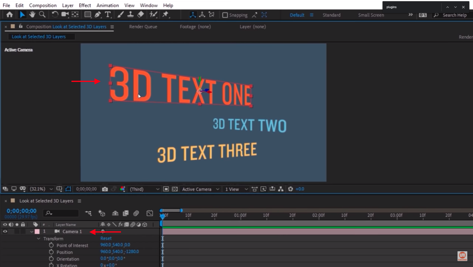 Select first 3D text in After Effects