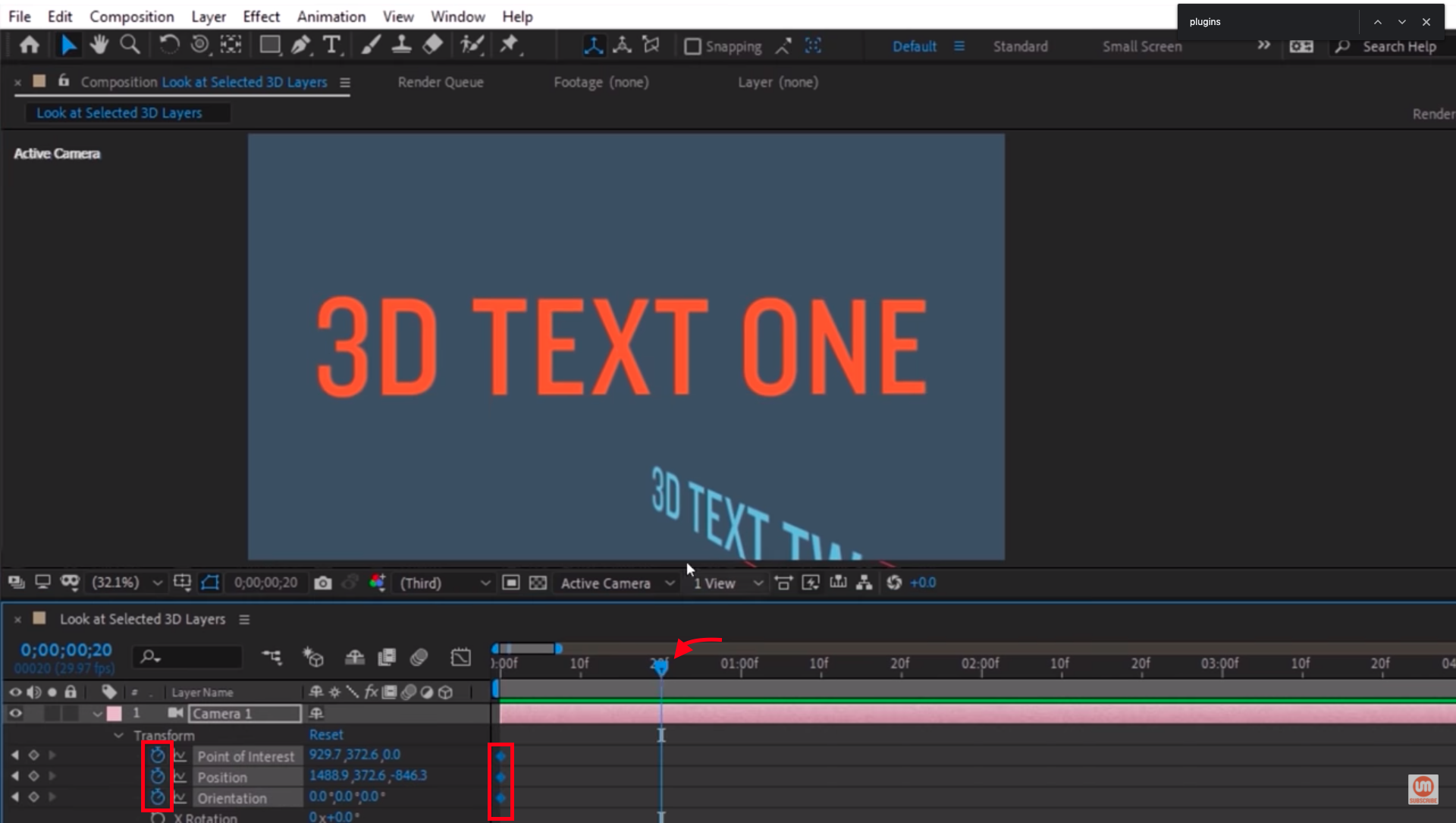 Set the keyframes in After Effects