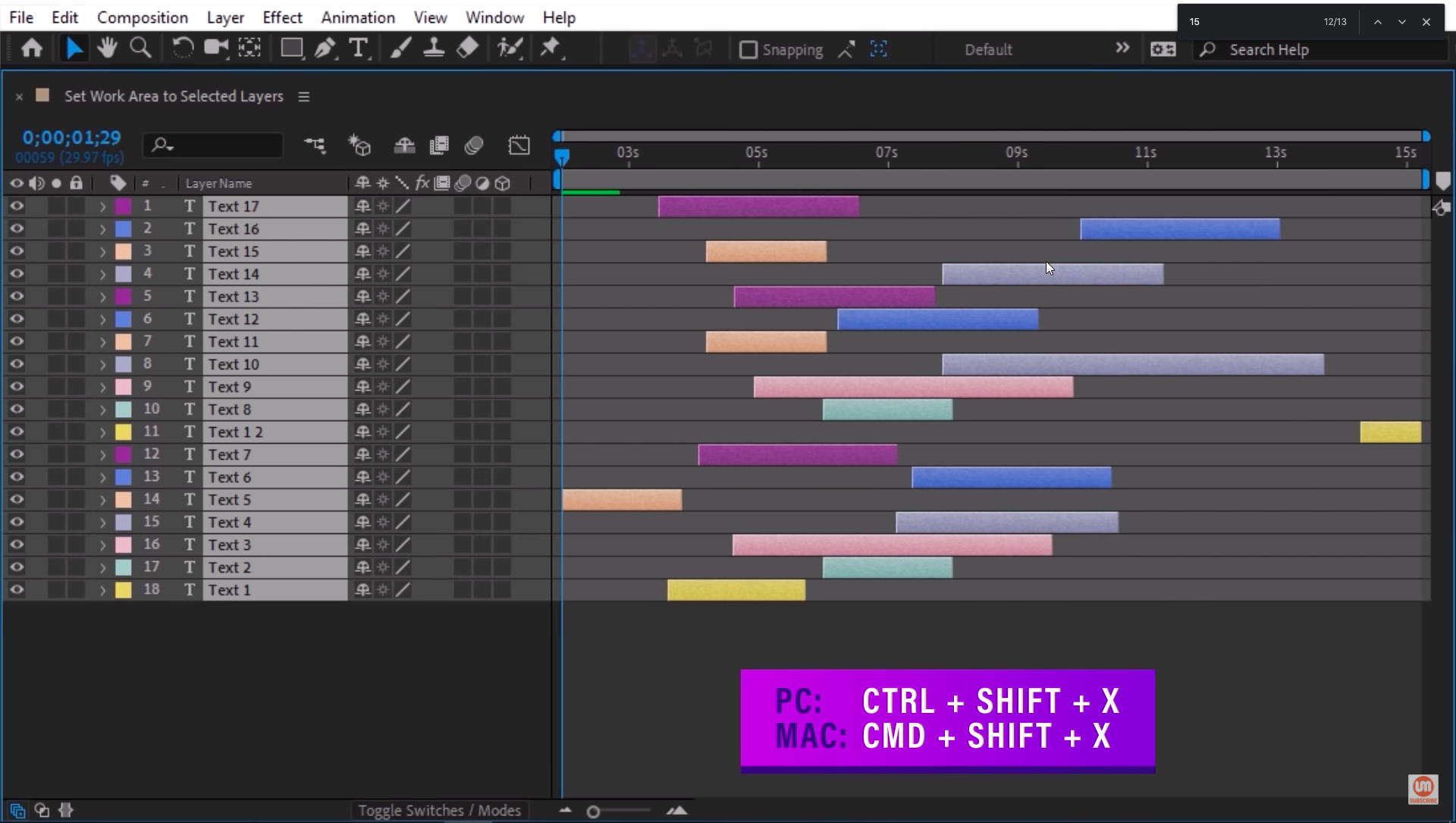 Set work area to selected layers in after effects