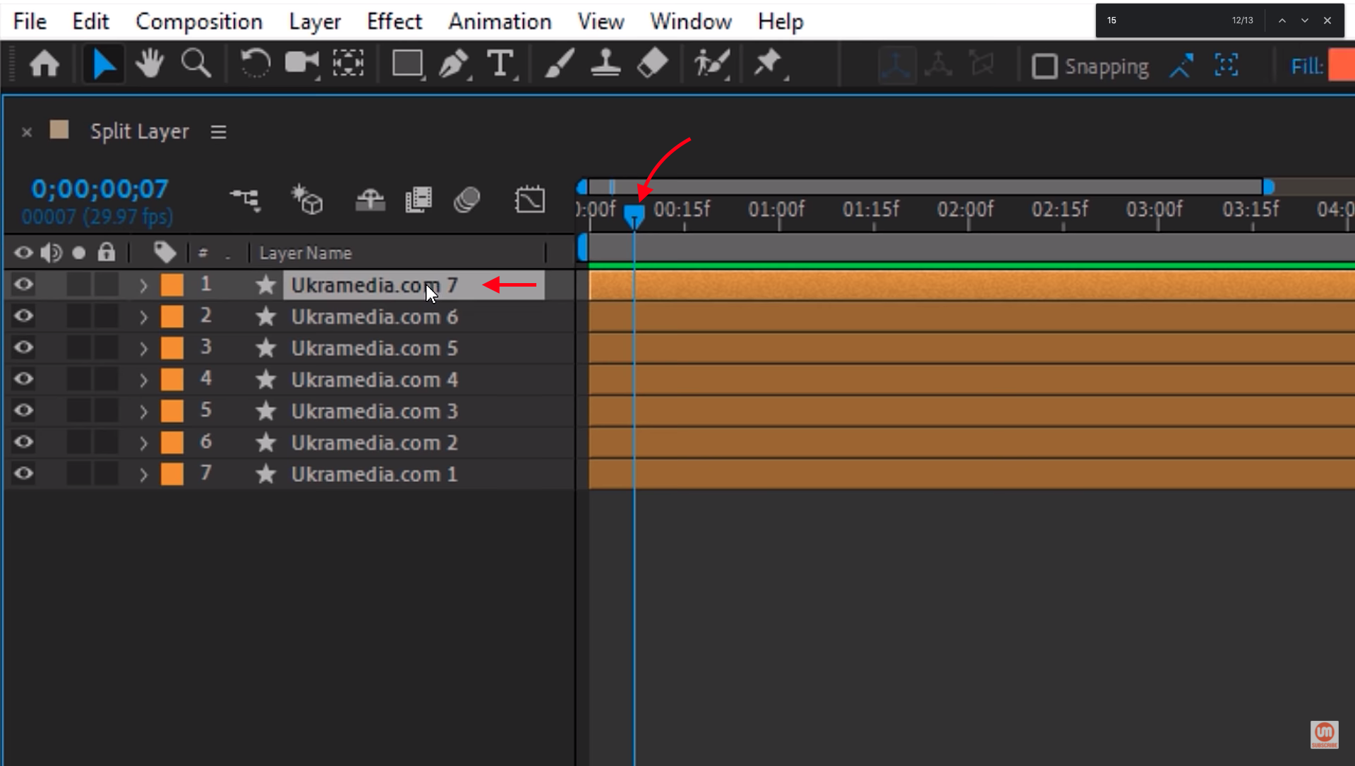 Splitting Layers in After Effects