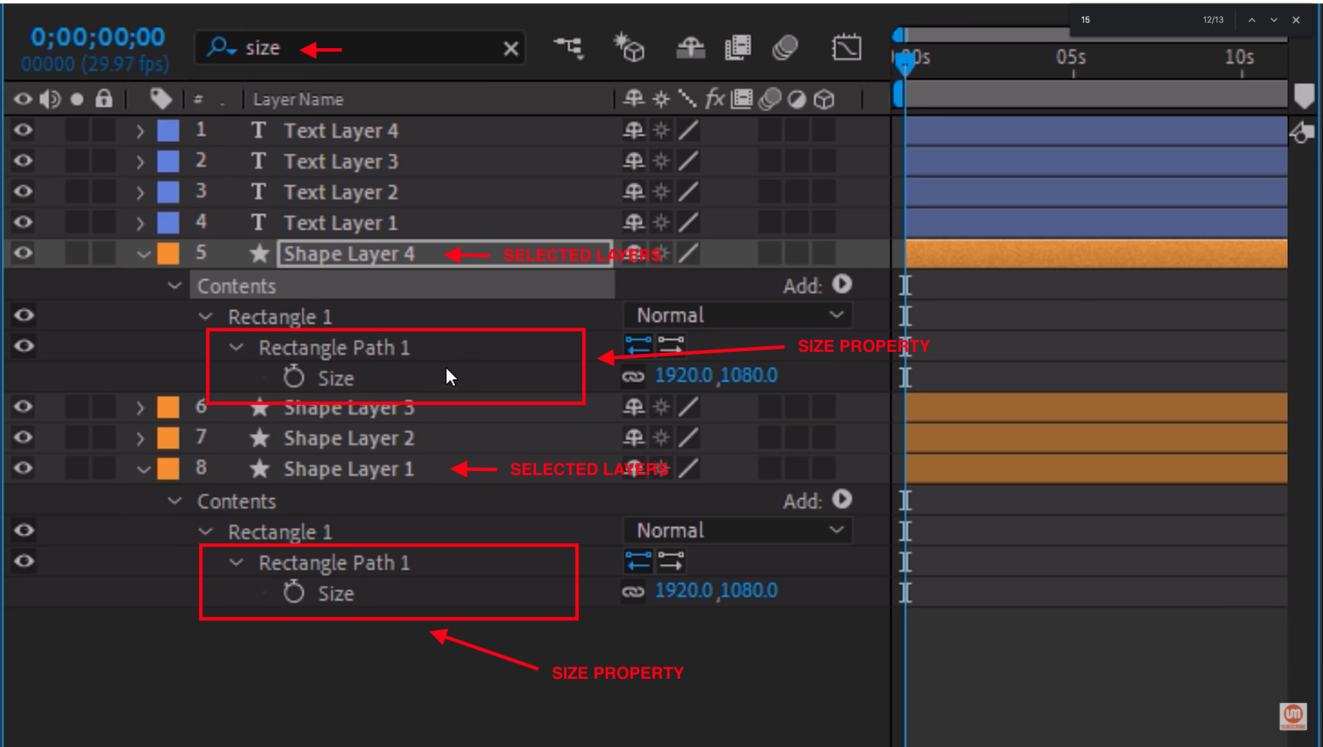 Timeline search bar in After Effects