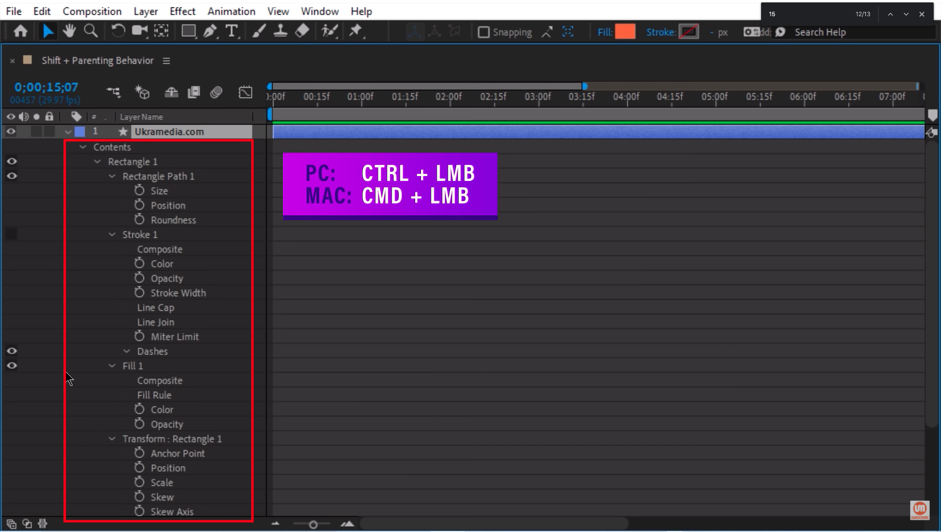 Unhiding properties in After Effects