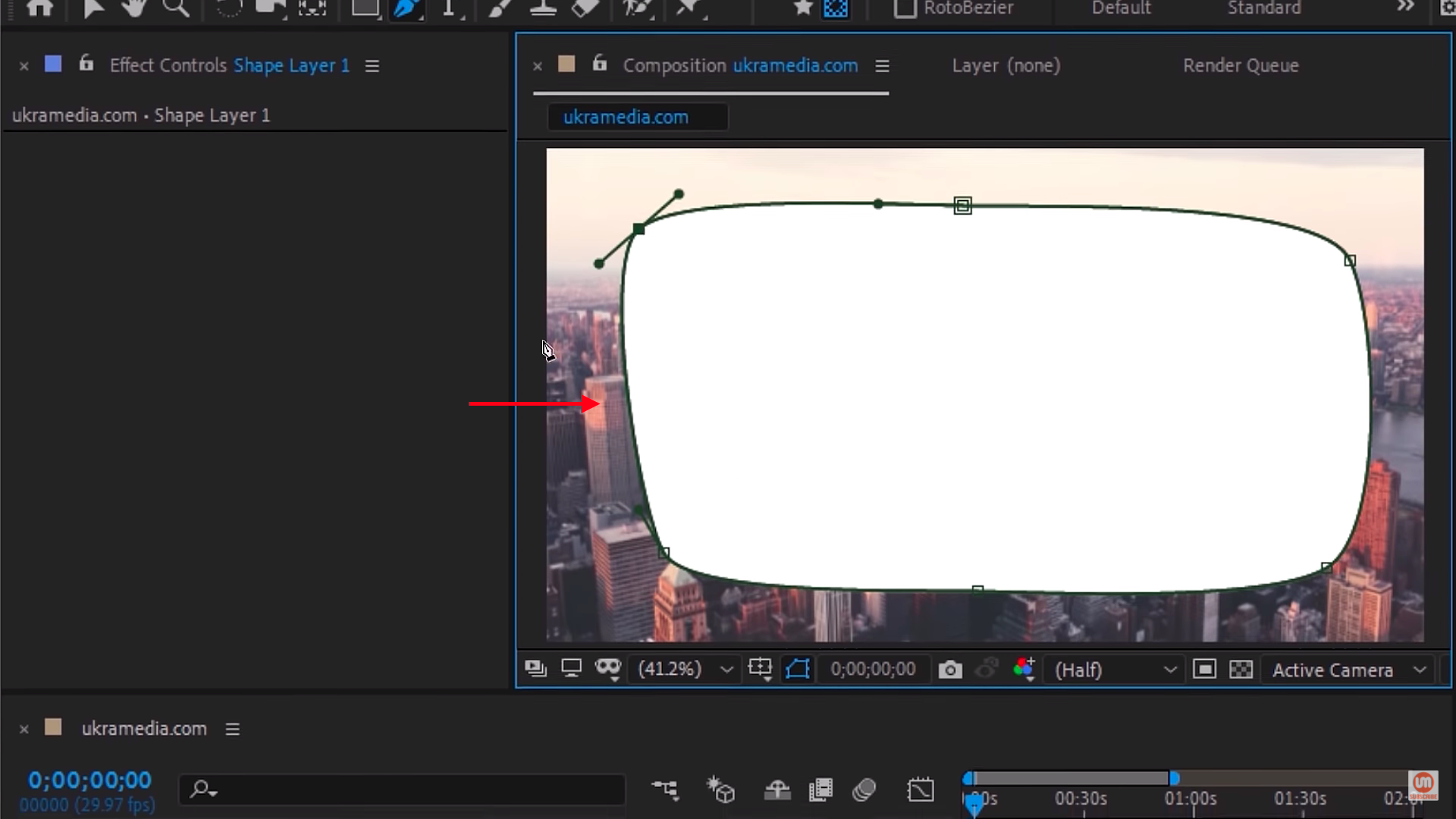 Vignette mask shape layer in After Effects