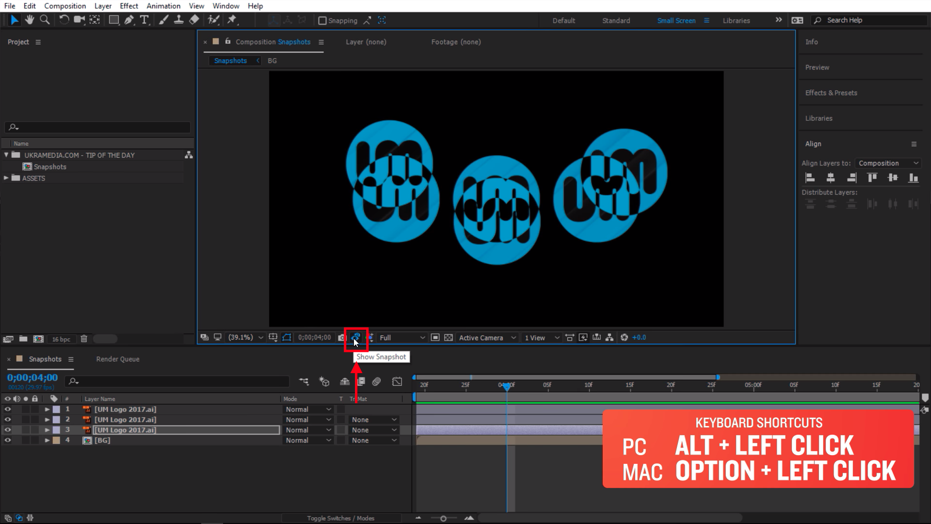 Blending mode in After Effects with snapshots