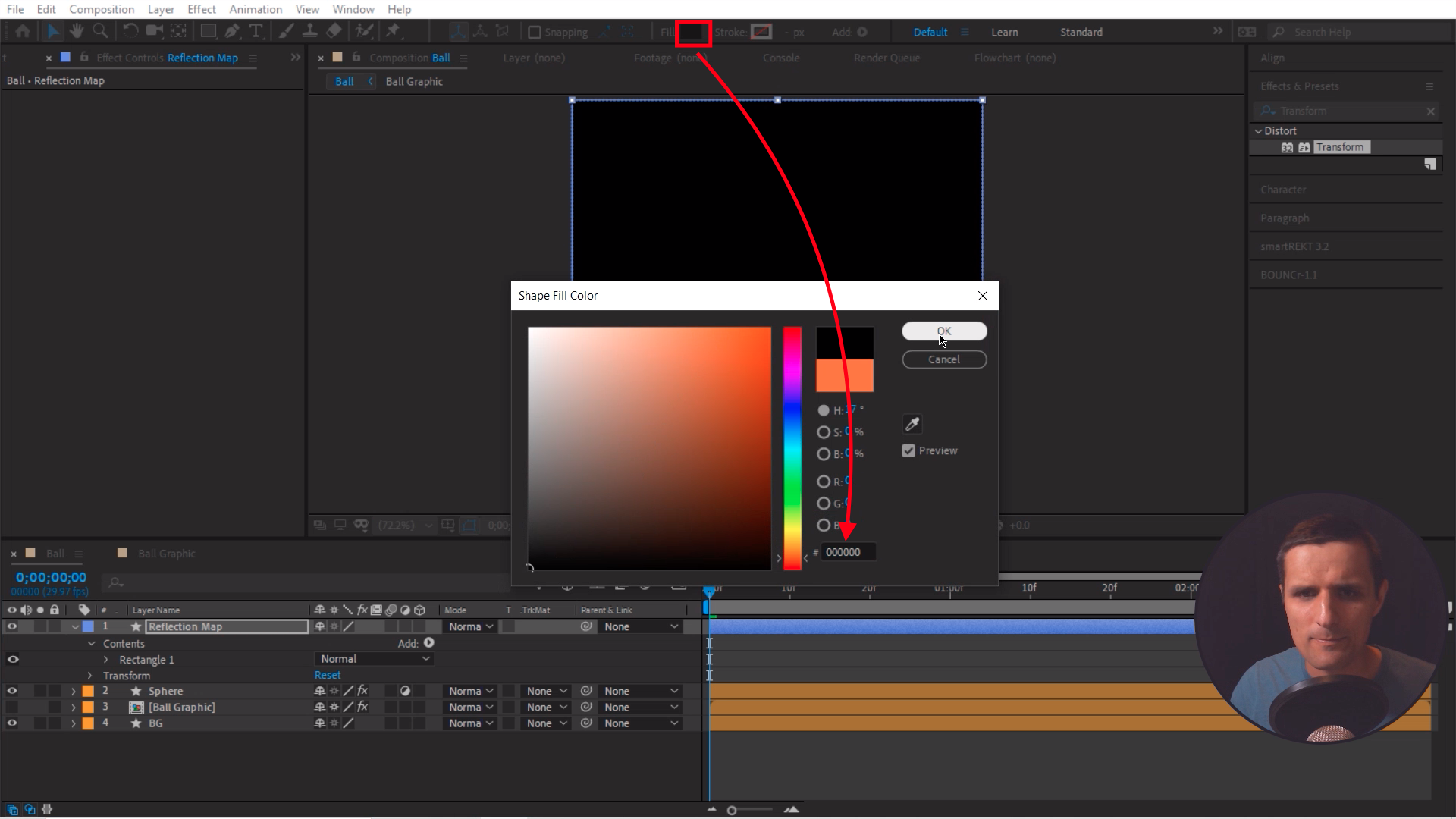 Changing the color to black in after effects