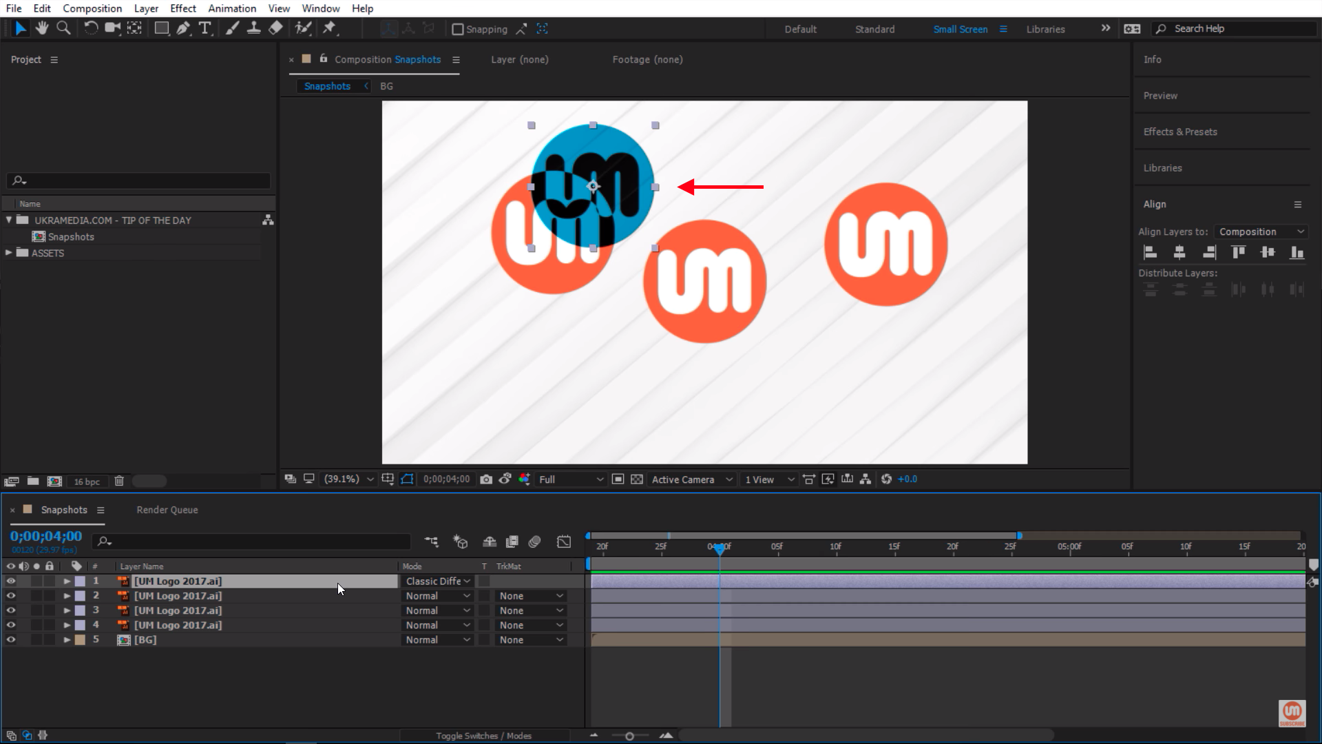 Classic Difference Blending Mode with Snapshot in After Effects