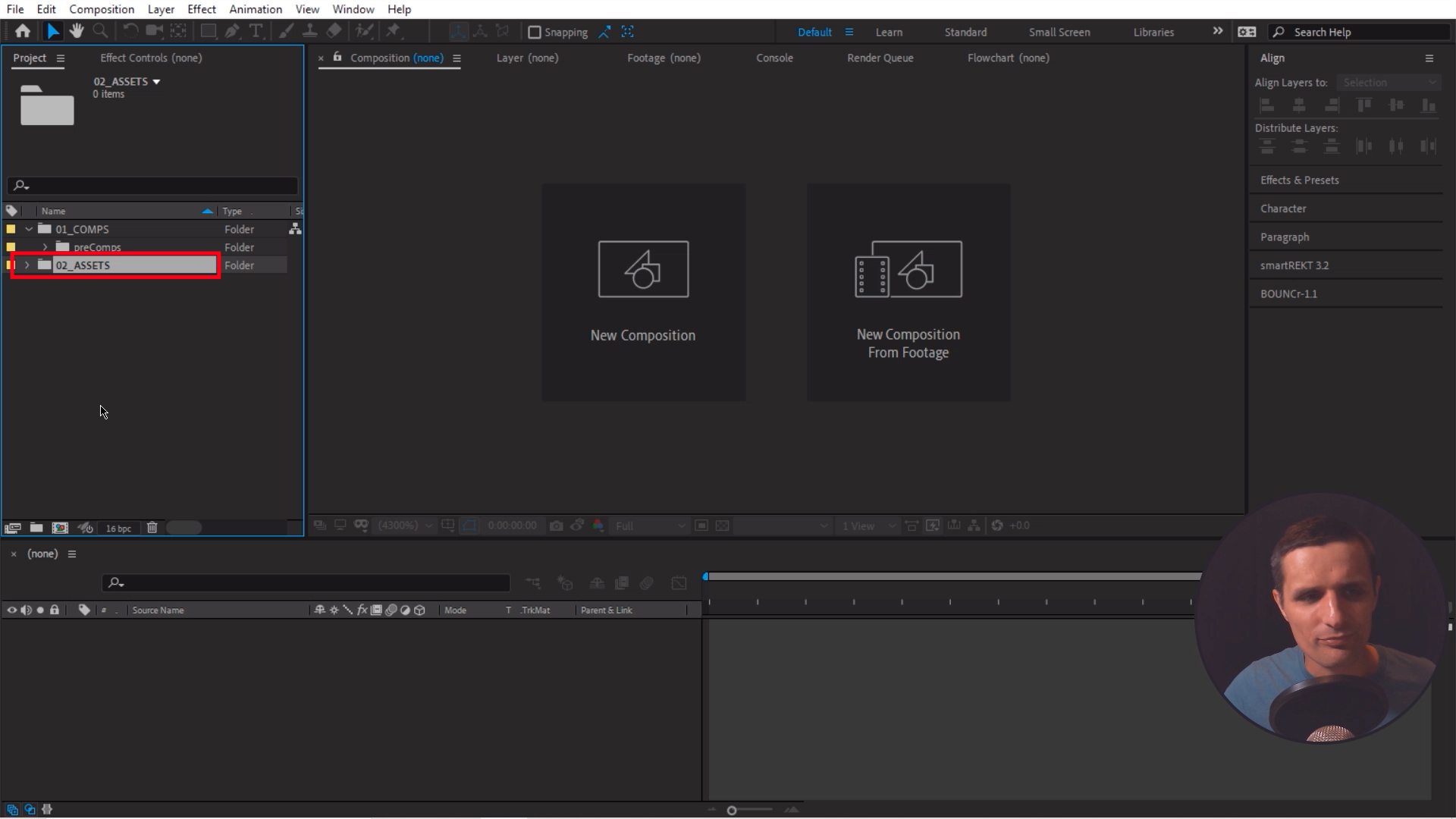 Create a folder for Assets in After Effects