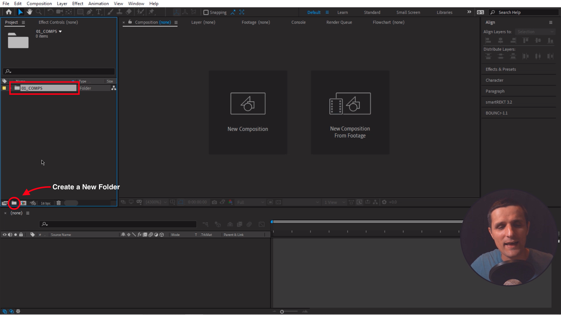 Create a new folder in Adobe After Effects