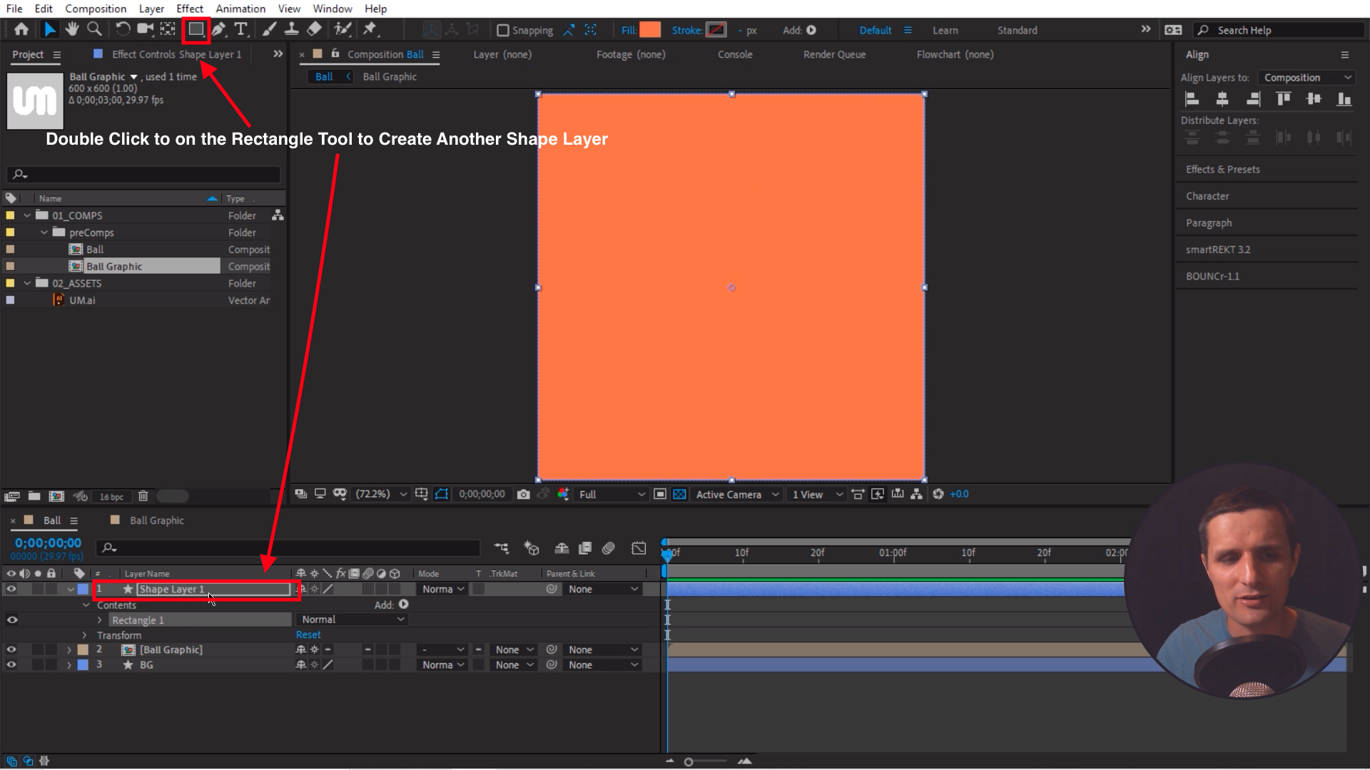 Create another shape layer with the rectangle tool in After Effects