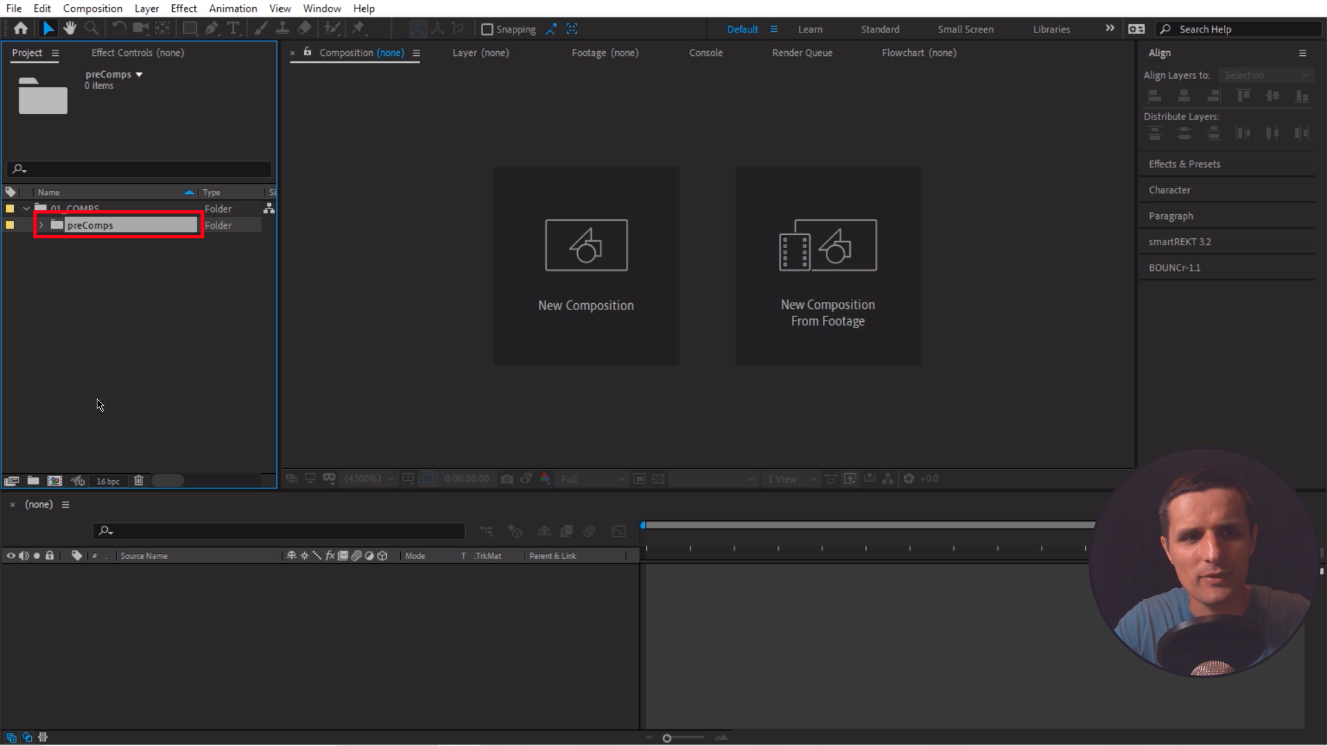 Creating a subfolder in Adobe After Effects