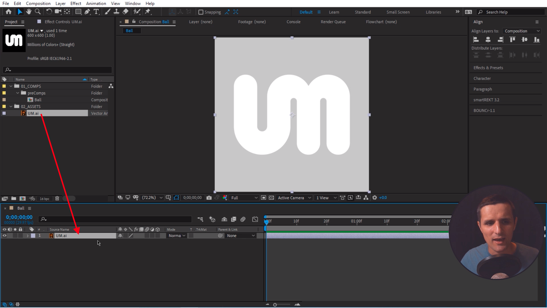 Drag logo in Adobe After Effects Composition
