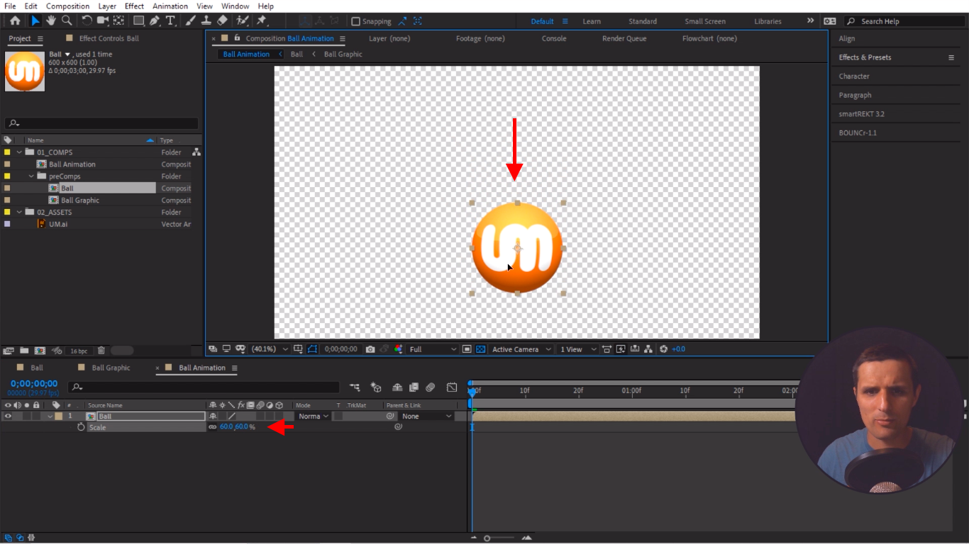 Move the ball in After Effects