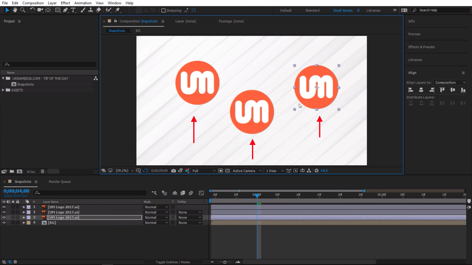 Moving snapshot around in After Effects Canvas