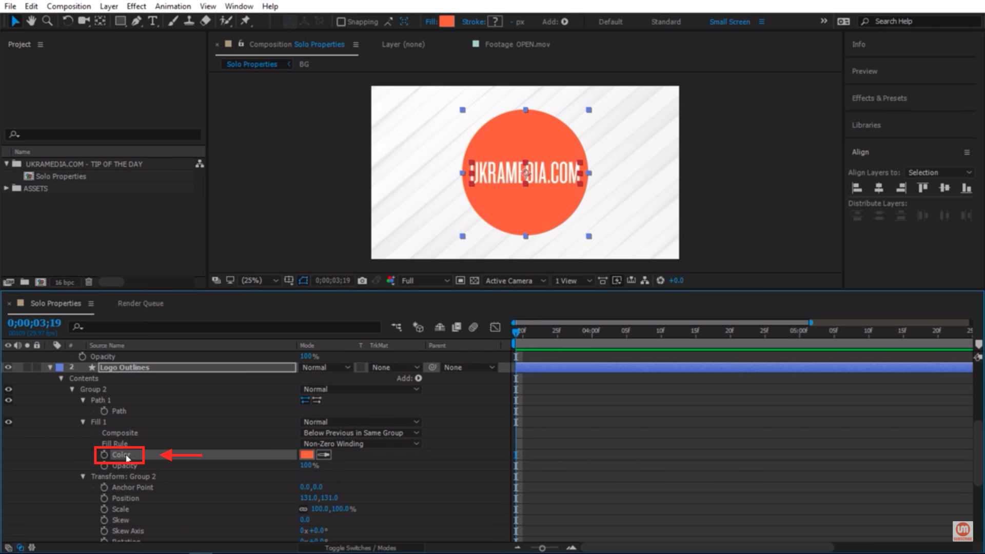 Selecting properties in After Effects