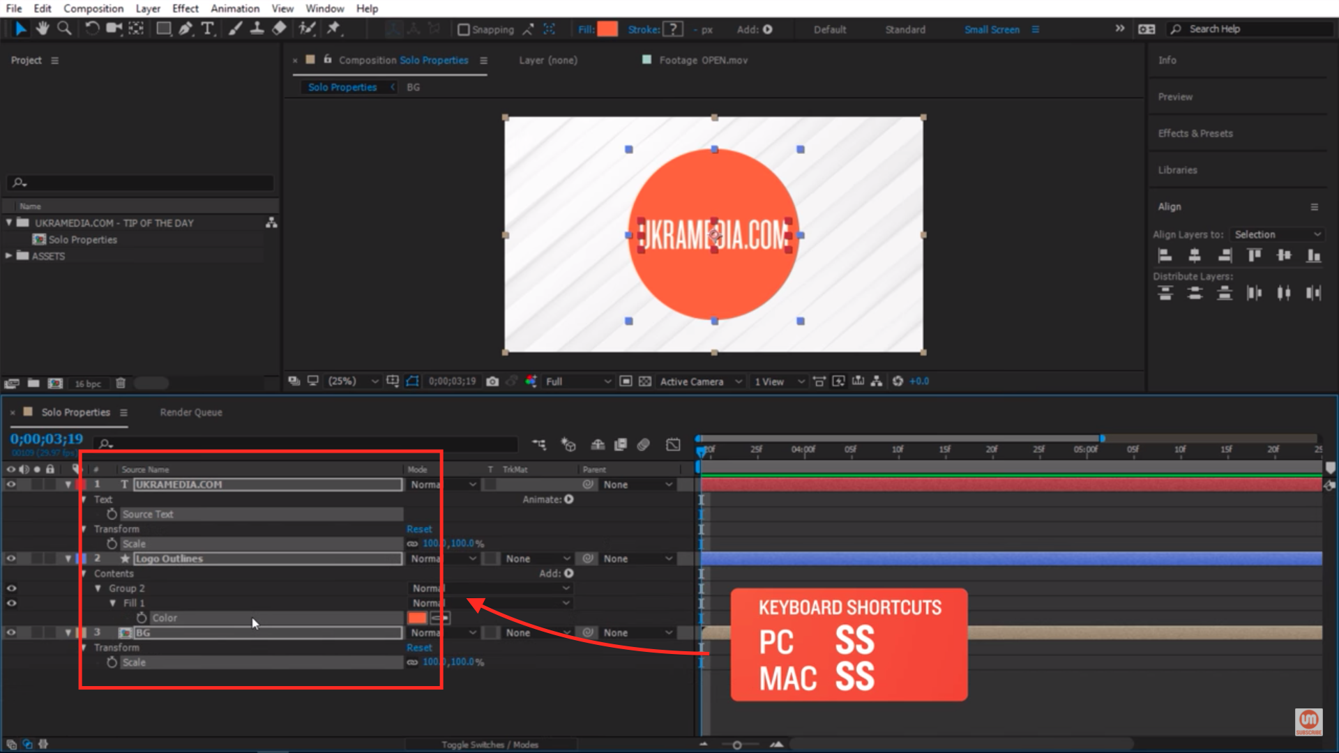 Solo Properties After Effects shortcut