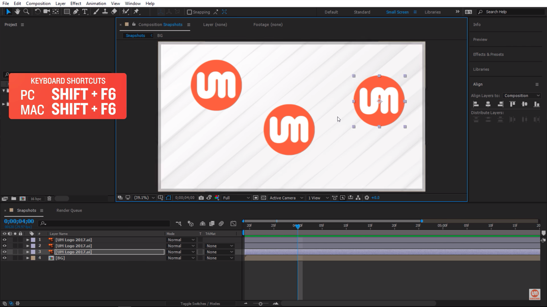 Taking multiple snapshots in After Effects with Shift F6