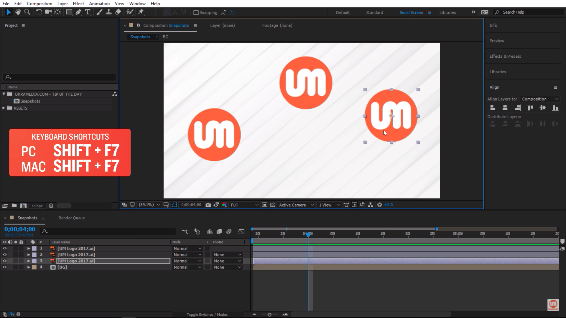 Taking multiple snapshots in After Effects with Shift F7