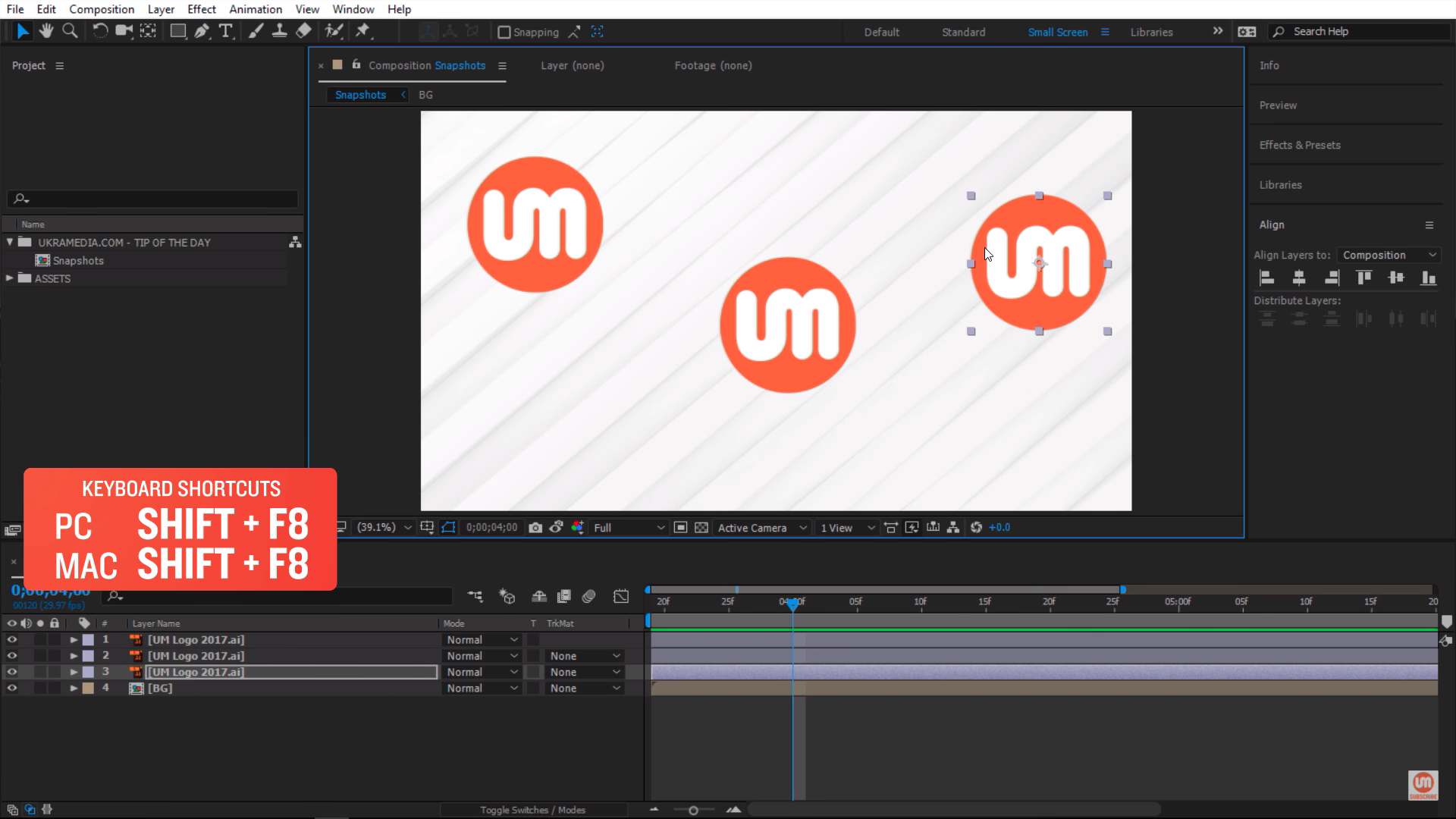 Taking multiple snapshots in After Effects with Shift F8